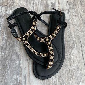 Wild Diva NWOT • Black Bejeweled Sandals